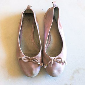 Gap metallic pink leather ballet flats with bows 7